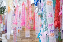 Prayer Flags Tung Hang With Umbrella Or Northern Traditional Flag Hang On Sand Pagoda In The Temple For Songkran Festival Is Celebrated In A Traditional New Year's Day In Chiang Mai,Thailand.