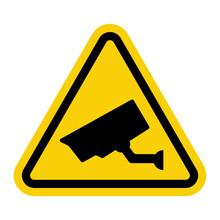 Warning Sign Isolated On White, Yellow And Black Triangular Signage.
