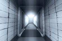 Spooky Haunted Lunatic Hospital Corridor 3D Illustration