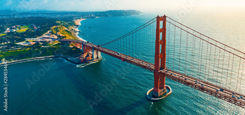 Poster Bridges Aerial view of the Golden Gate Bridge in San Francisco, CA
