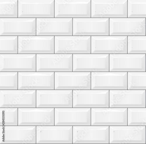 Fototapeta Seamless smooth metro tile texture - realistic white brick background