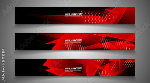 Fototapeta set the triangle background light header banner. Abstract composition of 3D triangles. Modern geometric red backgrounds isolated black obraz