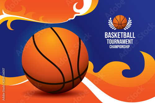 Basketball tournament design with fire background Tablou Canvas