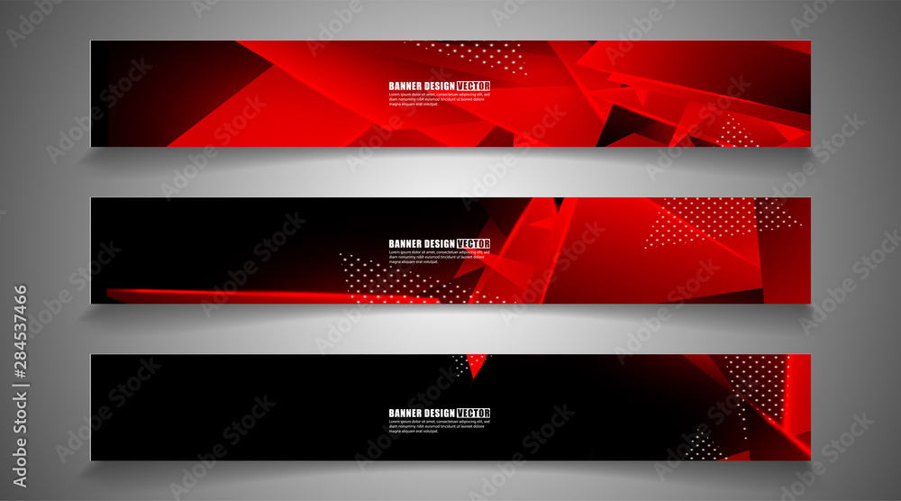 Obraz set the triangle background light header banner. Abstract composition of 3D triangles. Modern geometric red backgrounds isolated black fototapeta, plakat