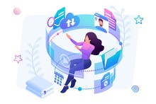 Isometric Concept Young Girl I...