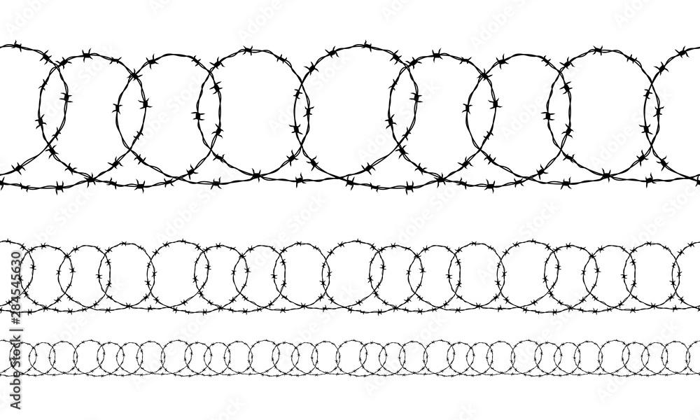 Fototapeta Set of seamless borders of black ravel barbed wire isolated on white