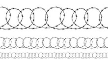 Set Of Seamless Borders Of Black Ravel Barbed Wire Isolated On White