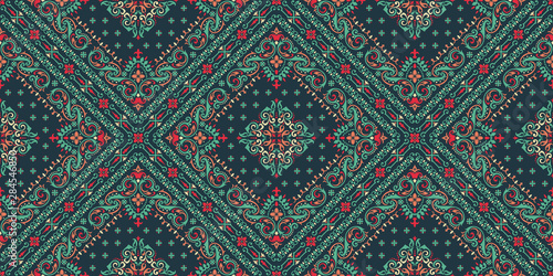 Seamless pattern based on ornament paisley Bandana Print. Vector ornament paisley Bandana Print. Silk neck scarf or kerchief square pattern design style, best motive for print on fabric or papper.