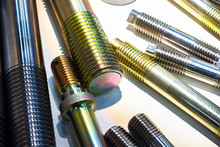 Metal Products With Thread. Threaded Studs Of Different Sizes. Metalworking. Products For Fasteners. Industrial Concept. Threads On Metal Workpieces