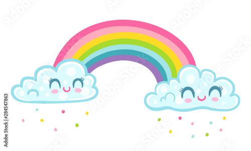 panda with unicorn horn on rainbow