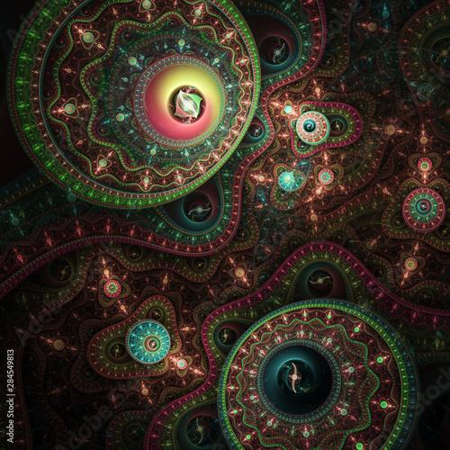 Fotobehang Fractal waves Dark colorful fractal clockwork, digital artwork for creative graphic design