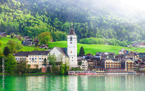 beauty in nature - scenic lake Sankt Wolfgang in Austria, surrounded with Alps mountains