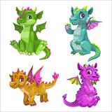 Fototapeta Dinusie - Little cute cartoon baby dragons set. Vector.