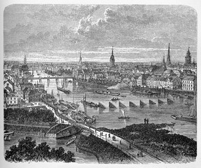 FototapetaBremen Hanseatic city, panoramic view in the 19th century with the bridges on the Weser river