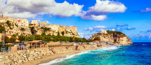 Italian summer holidays - beautiful Tropea town with great beach. Calabria, Italy