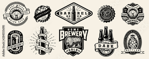 Tablou Canvas Vintage brewing monochrome emblems
