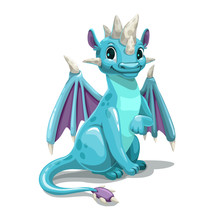 Little Cute Cartoon Blue Dragon. Isolated On White Background.