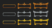 Metallic Title Banners Set For Epic Game Design. Golden, Silver And Bronze Decorative Frames.