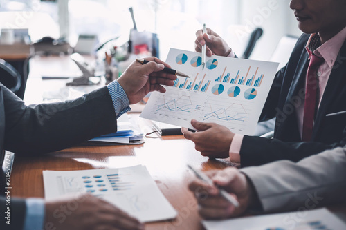 Group of business people at meeting assessment the state of business investment and marketing Canvas Print