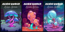 Fantastic Background. Fantasy Cartoon Alien World Landscape.