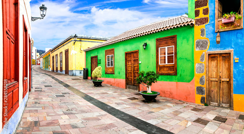 Charming colorful streets of old colonial town los Llanos di aridane in La Palma, Canary islands