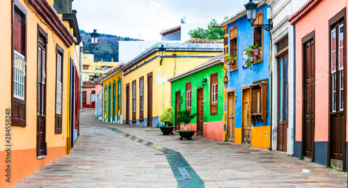 Beautiful colorful streets of old colonial town los Llanos di aridane in La Palma, Canary islands