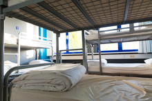 Hostel Interior, Bunk Beds And Linen, Nobody