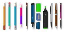 Realistic Pen And Pencils. 3D ...