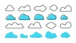 Clouds set. Trendy different flat clouds with grunge texture and outline blue shapes, modern meteorology symbols. Vector isolated symbol cloudscape heaven banners