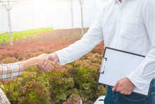 Businessman Hand Hold Contract And Asian Woman Farmer Success Deal Contract In Greenhouse Hydroponic Organic Farm ,Small Business Entrepreneur And Organic Vegetable Farm And Healthy Food Concept