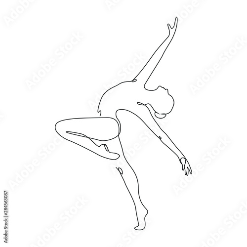 Fototapeta Ballerina jumps performing dance one line drawing on white isolated background