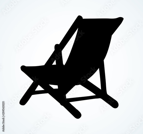 Photo Beach chair. Vector freehand drawing