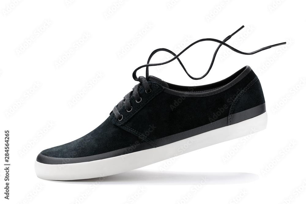 Fototapety, obrazy: black trendy sneaker  shoe isolated on white background.
