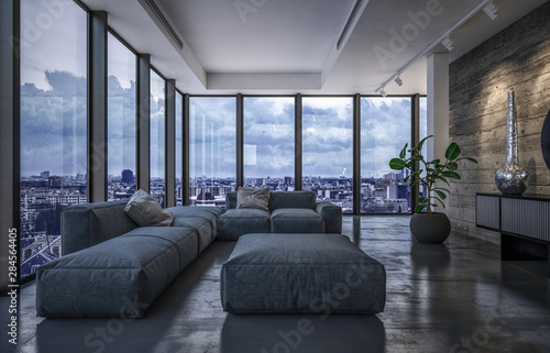 Luxury penthouse living room in evening light - fototapety na wymiar