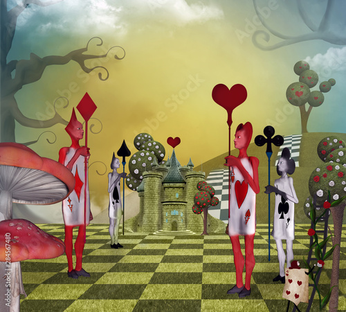 Fototapeta Landscape inspired by Alice in Wonderland with the card guards of the Queen of H