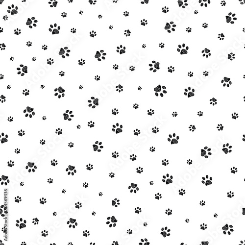 plakat Trace black doodle paw prints seamless pattern background