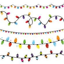 Light Bulbs Collection. Set Of Christmas Lights For Xmas Holiday Greeting Card Design