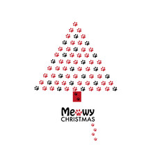 Made Of Paw Prints Christmas Tree. ''Meowy Christmas'' Text With Happy New Year Greeting Card