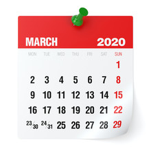 March 2020 - Calendar. Isolate...