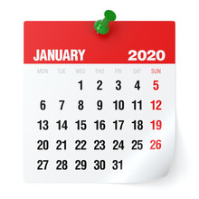 January 2020 - Calendar. Isolated On White Background. 3D Illustration