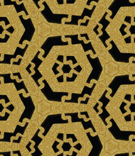 Egyptian Tribal Shield Metallic Gold On Black Background. Seamless Faux Pattern