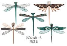 Set Of Folk Art Decorated Dragonflies.
