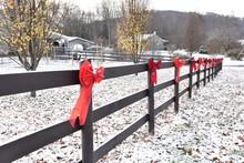 Christmas Bows On Long Farm Fence