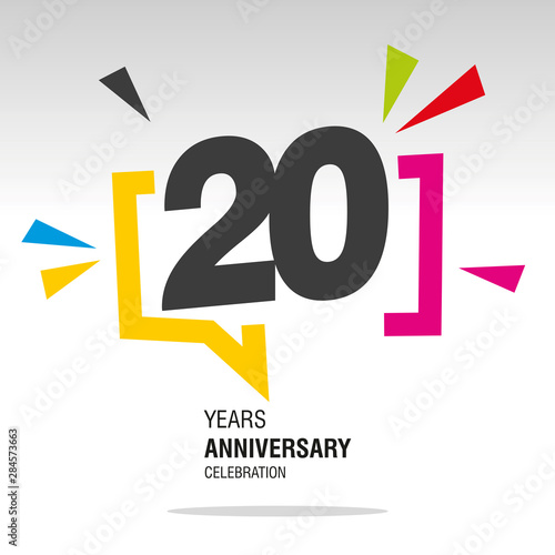 Fotografía  20 Years Anniversary colorful white modern number logo icon banner
