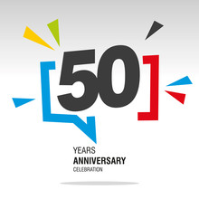 50 Years Anniversary Colorful ...
