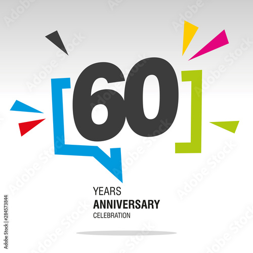 Papel de parede  60 Years Anniversary colorful white modern number logo icon banner