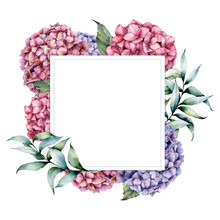 Watercolor Border With Hydrangea And Eucalyptus Leaves. Hand Painted Botanical Card With Branch And Flowers Isolated On White Background. Floral Illustration For Design, Print, Fabric Or Background.