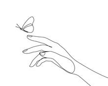 Butterfly Flies By Hand One Li...