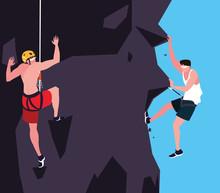 Men Athlete Practicing Climbing Character