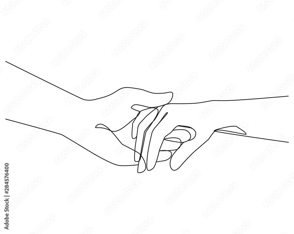 Holding hands one line drawing on white isolated background. Vector illustration <span>plik: #284576400 | autor: nataletado</span>
